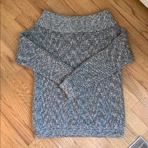 Express off the shoulder gray marled knit sweater